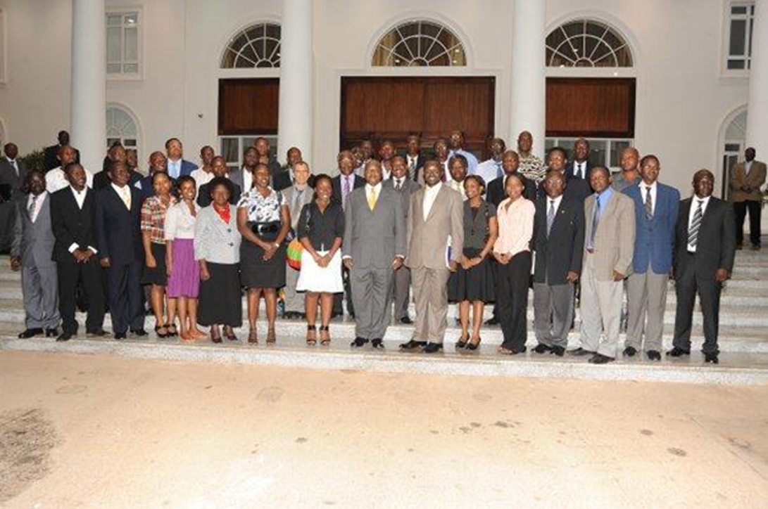 H.E. Yoweri Kaguta Museveni and the Faculty of Technology Delegation after a Meeting at State House, Entebbe, December 2009